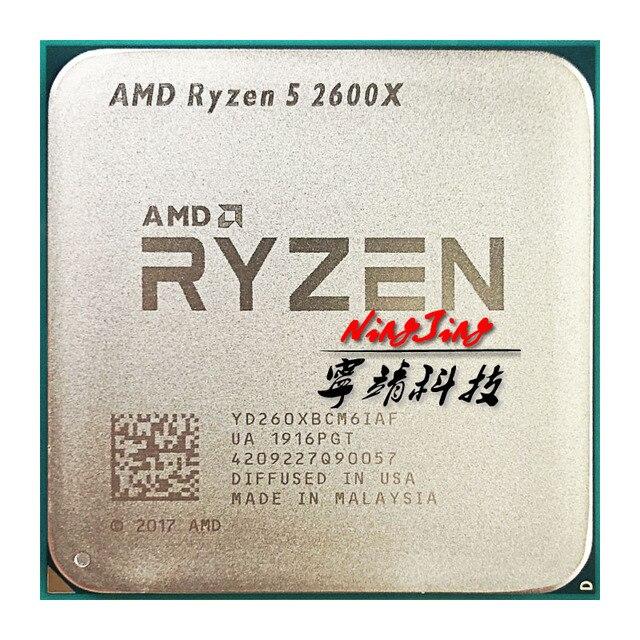 مقبس وحدة معالجة مركزية AMD Ryzen 5 2600X R5 2600X 3.6 GHz ستة النواة اثني عشر خيط مقبس وحدة المعالجة المركزية AM4