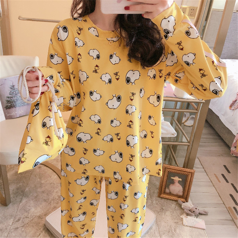 Women Pajamas Set Girl Sleepwear Cute Cartoon Snoopy Dog Women Pyjamas Suit Female Home Clothing 2019 Nightwear