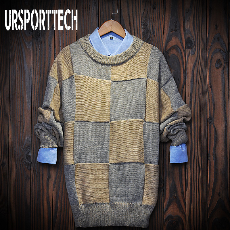 New Brand Autumn Winter Patchwork Sweaters Men Casual Loose Big Plaid Pullover Sweater Handsome Teen Stitching Jumper Plus Size