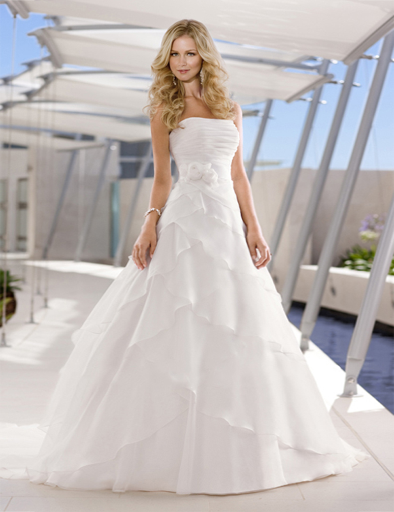 Don's Bridal 2015 New Decent Strapless Button Back Embellishment Flower Belt Ruffle Chiffon A-Line Wedding Dresses A11