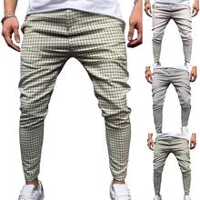 50% Hot Sales Fashion Men Pants Mid Waist Slim Fits Plaid Checkered Side Stripe Trousers for Work