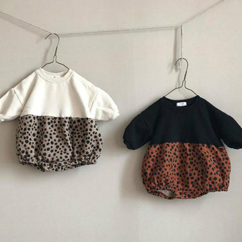 Spring Baby Fashion Leopard Patchwork Bodysuits 2020 Infant Baby Girl Fleece Thicken Long Sleeve Clothing 0-2Y