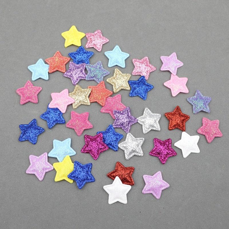 200Pcs Glitter Stars Padded Patches Appliques DIY Craft Jewelry Ornaments Artesanato Materials Kids Headwear Hair Accessories