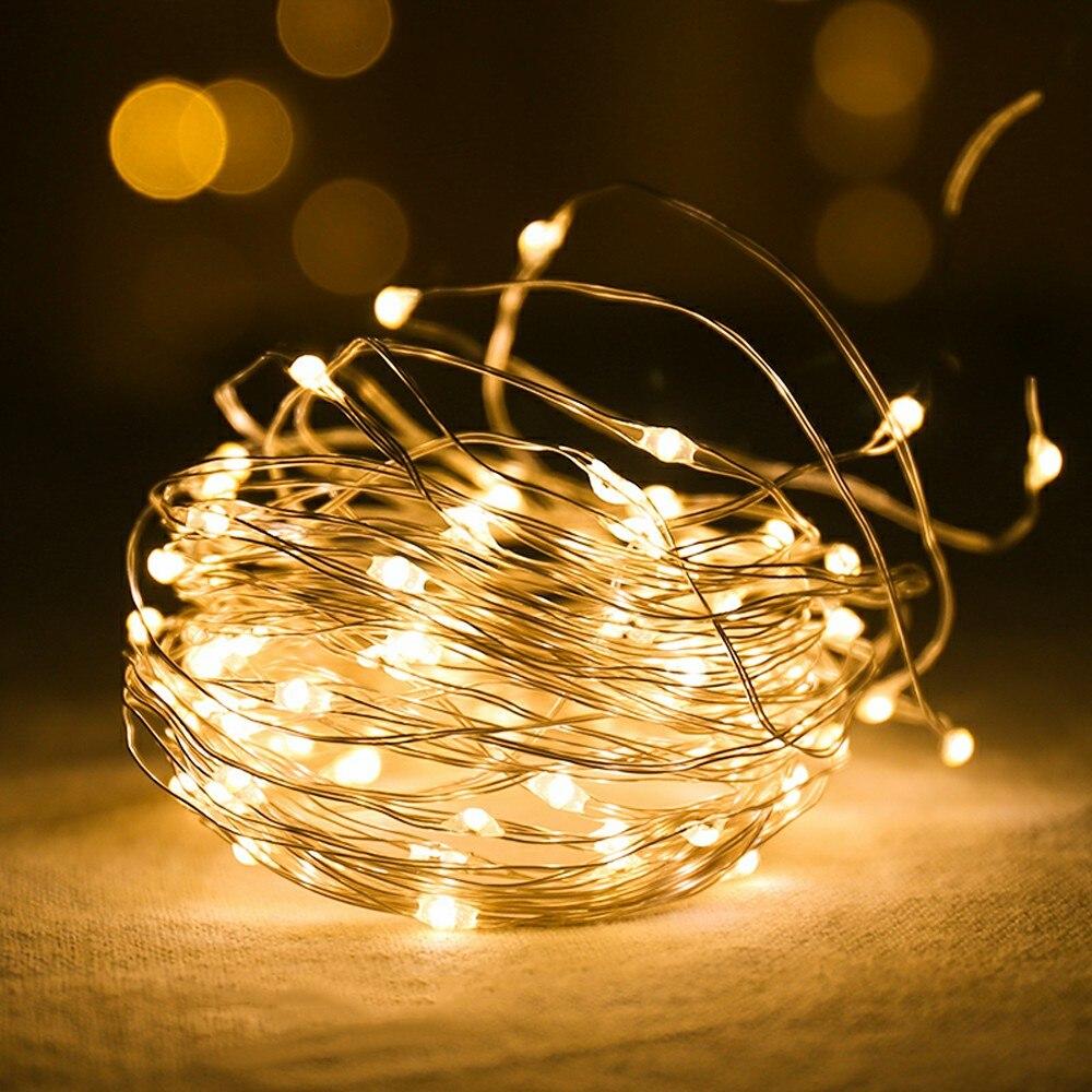1-10 м светодиодные гирлянды светильник Медный провод праздничный светильник ing Фея светильник гирлянда Батарея операции для Рождественская елка Свадебная вечеринка Декор