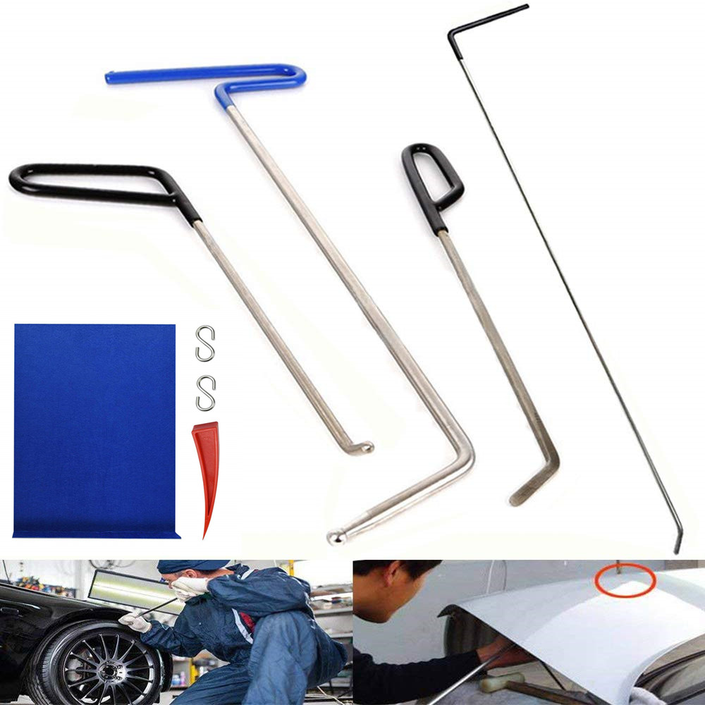 PDR Rod Hooks Tools Dent Repair Tools Kit Window Guard With Felt Red Wedge And S-Hook For Car Paintless Dent Removal