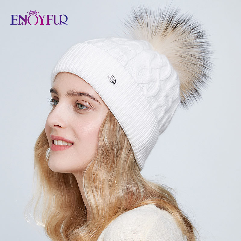 ENJOYFUR Winter Hats For Women Real Fur Pompom Warm Knitted Cashmere Lady Beanies Fashion Soft Autumn Caps