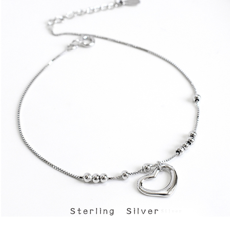 S925 Sterling Silver Love Anklet Korean Personality Temperament Girl Peach Heart Beach Foot Jewelry Wild Simple Jewelry