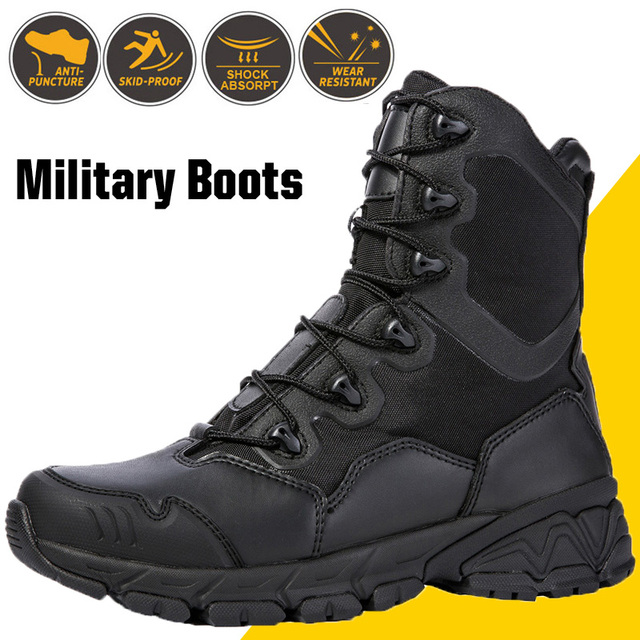 Military Boots Desert Special Force Leather Mens Lace Up Ankle Shoes Male Tactical Zipper Army Combat Safety Work Boots