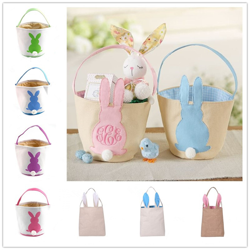 Happy Easter Burlap Bunny Ears Bags 43 Styles Easter Basket Canvas Bunny Buckets Easter Tote Bags With Rabbit Tail Kids Gift