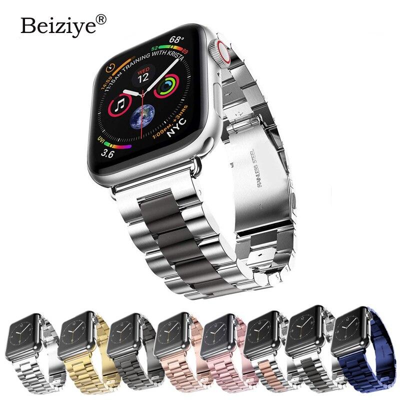 Beziye luxo pulseira de aço inoxidável para apple assistir banda 42mm 38mm 44mm 40mm série 5 pulseira metal esporte pulseira iwatch 4 3