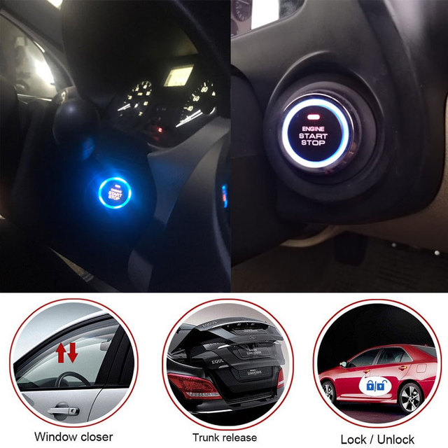 12V Auto Car Alarm One Start Stop Button Engine Push Button RFID Lock Ignition Switch Keyless Entry Starter Antitheft System 1