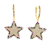 dropshipping rainbow cz paved big star charm dangle earring with hoop paved fashion tessel star pendant earring jewelry(China)