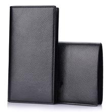 Zestaw 2 sztuk (1 krótkie portfele i 1 długie portfele) portfel w stylu klasycznym PU męskie portfele skórzane portfel męski portfel z saszetką na karty mężczyzn tanie tanio long Skóra syntetyczna Stałe Na co dzień Otwór na wyjście Wewnętrzny przedziałek Kieszeń na przepustki Przedziałek na notatki