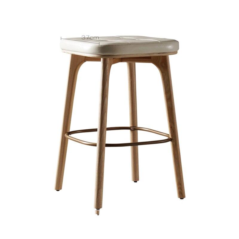 Nordic Bar Stool Leather Soft Bag Bar Stool Bar Stool Simple Modern High Stools Home Bar Stool Solid Wood High Chair