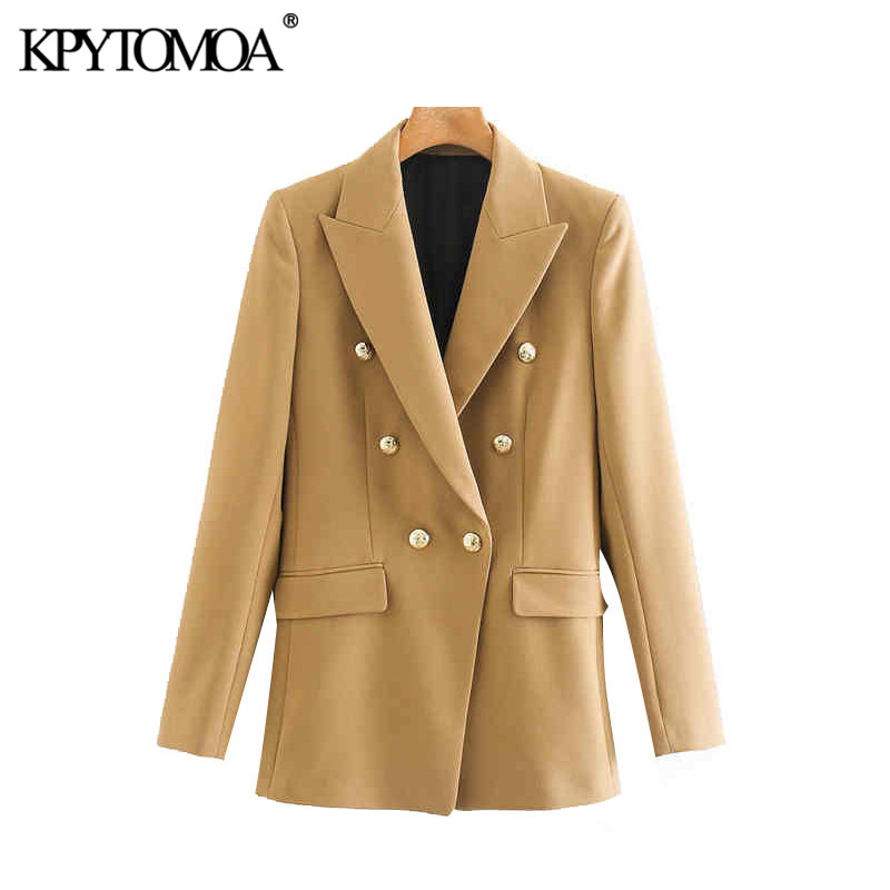 Vintage Stylish Office Wear Double Breasted Blazer Coat Women 2020 Fashion Long Sleeve Back Vents Female Outerwear Chic Tops