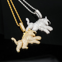 2019 new Iced Out Cubic Zircon Bling Wolf Dog Animal Necklace Pendant Men Women HipHop Rock Jewelry CZ Necklaces For Gifts Party