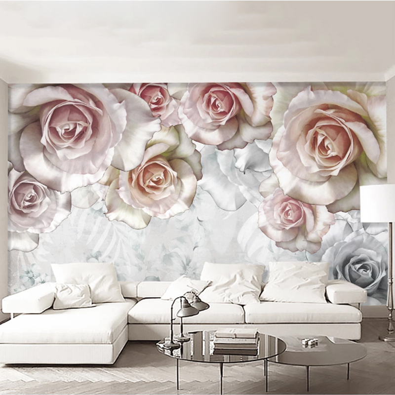 2020 Hot Sale Elegant Fresh 3D Stereoscopic Pink Rose Floral Oil Painting American Pastoral TV Background Wedding Room Sticker