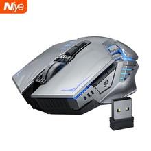 Souris de jeu sans fil ergonomique 7 boutons 1600DPI Rechargeable ordinateur Gamer souris muette silencieuse avec rétro-éclairage pour ordinateur portable