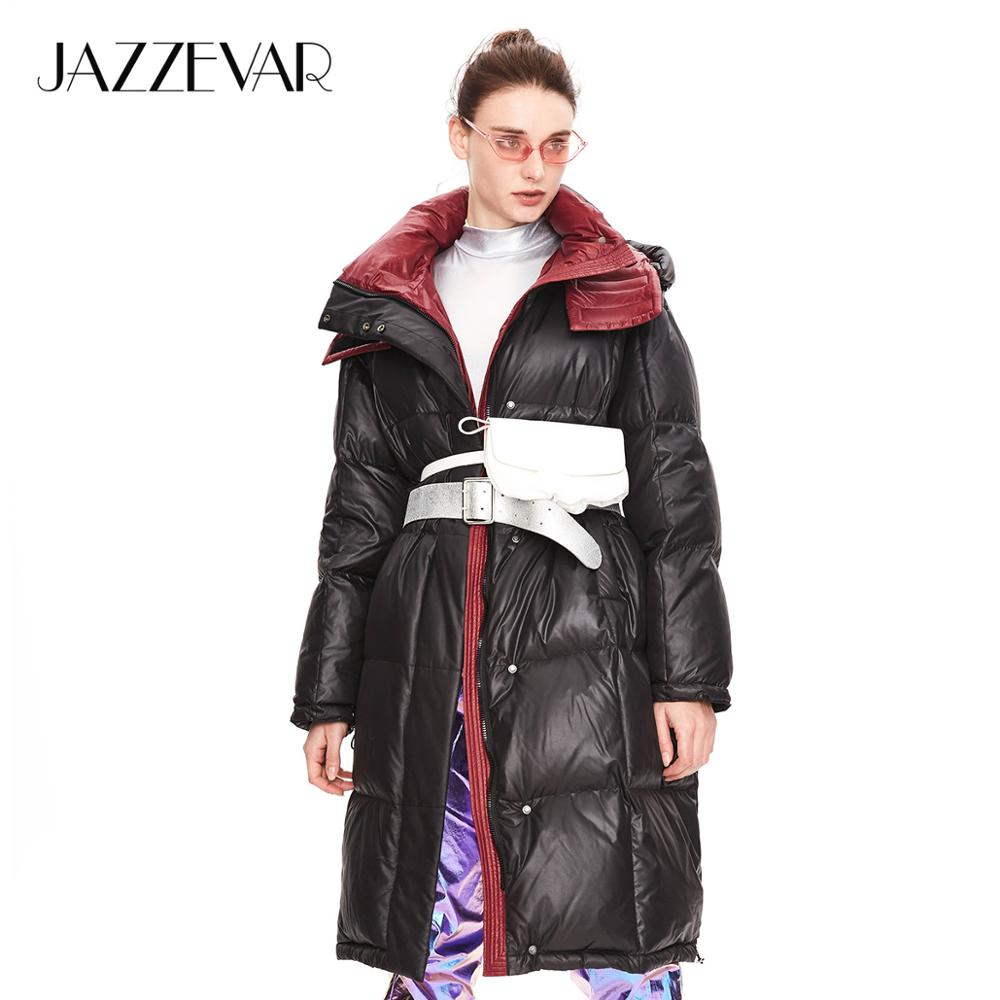 JAZZEVAR 2019 Winter New Arrival Down Jacket Women Dark Blue Color With A Hood Fashion Style Long Women Clothes For Winter K9049