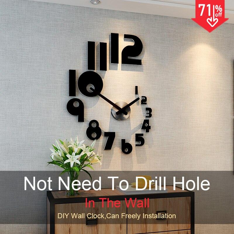 2019 nouveau bricolage grande Horloge murale Design moderne silencieux Quartz montre autocollant 3d salon décor à la maison acrylique Horloge livraison gratuite