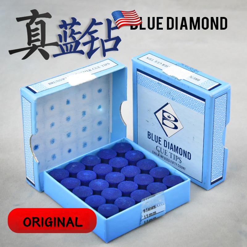 Original BLUE DIAMOND Snooker Cue Tip BRUNSWICK LEATHER CUE TIPS 10mm 11mm Snooke Tip Billiard Accessories 50 Pieces Tip One Box