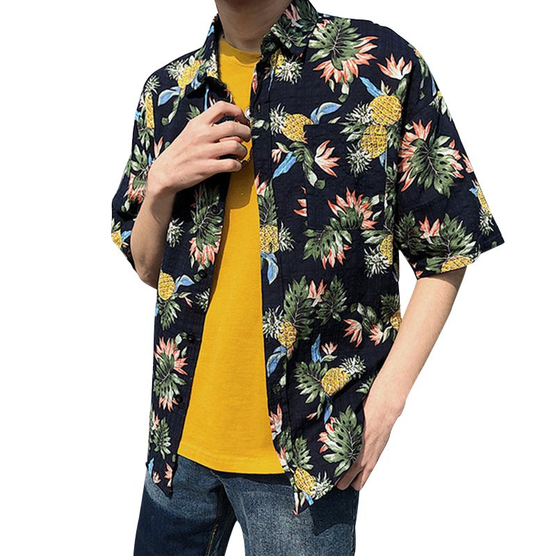 Men Fashion Summer Shirts Leaves Flower Pineapple Print Loose Short Sleeve Shirt Male Hawaiian Style Beach Shirt X