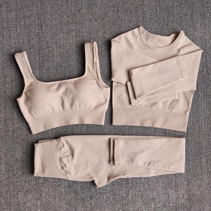 Frauen Sportswear Yoga Set Workout Kleidung Athletisch Tragen Sport Gym Legging Nahtlose Fitness Bh Crop Top Langarm Yoga anzug