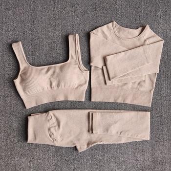 Women's Sportswear Yoga Set Workout Clothes Athletic Wear Sports Gym Legging Seamless Fitness Bra Crop Top Long Sleeve Yoga Suit