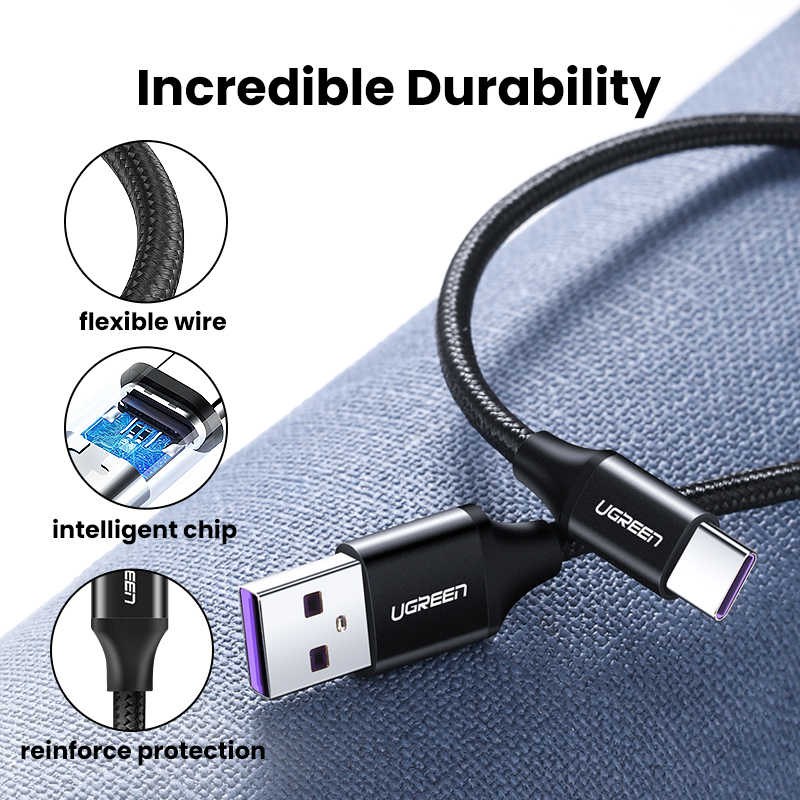 Ugreen 5A USB نوع C كابل لهواوي P40 برو ماتي 30 P30 برو Supercharge 40 واط شحن سريع USB-C كابل شاحن للهاتف الحبل