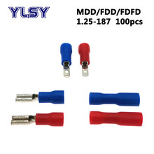 O macho fêmea de 100 pces 4.8mm isolou o terminal fdd do friso/fdfd/MDD1.25-187 conector bonde do cabo da fiação 22-16awg 0.5-1.5mm2
