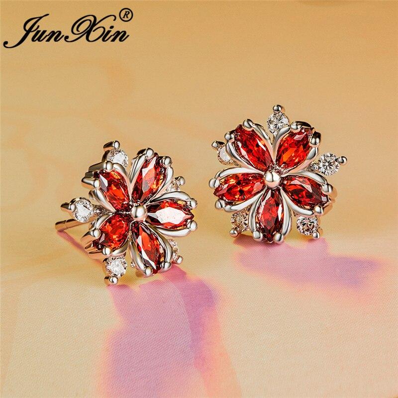 Cute Crystal Female Purple Red Snowflake Earrings White Gold Wedding Jewelry Boho Small Sakura Flower Stud Earrings For Women Cz