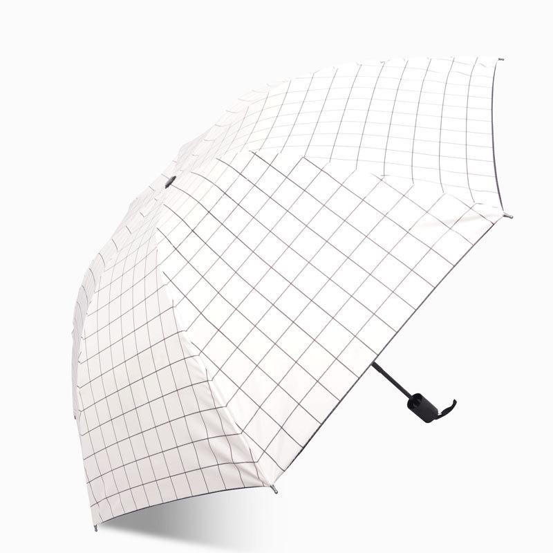 2 Vinyl Plaid Rain Or Shine Dual Purpose 8-Bone Folding Parasol Classic Color Simple Hipster Anti-UVumbrella CN