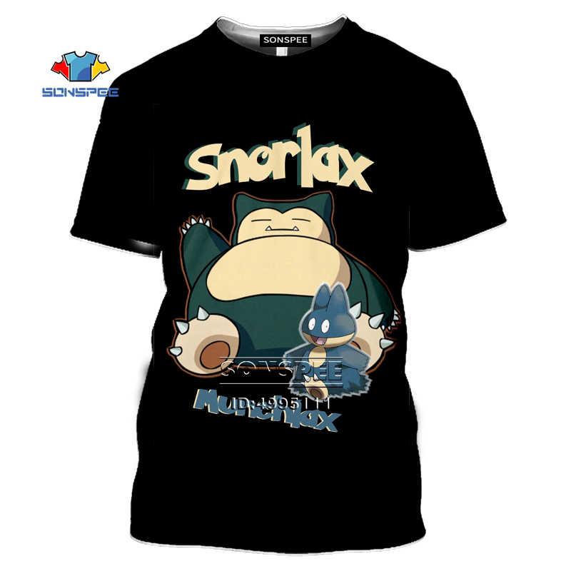 New Pokemon Snorlax Short Sleeve Novelty T-Shirt White