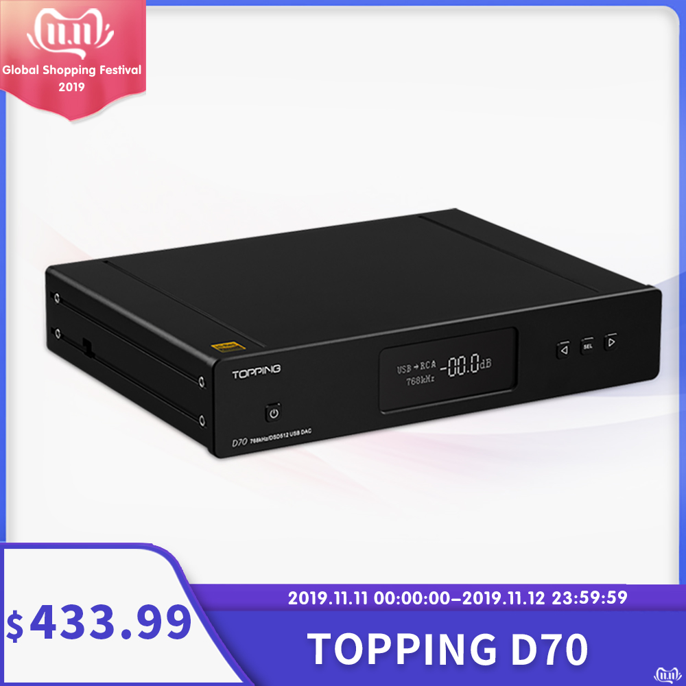 <font><b>Topping</b></font> <font><b>D70</b></font> dac decoder Bluetooth XMOS XU208 AK4497 chip coaxial usb optical IIS input Balance xlr RCA output DSD512 amplifier image