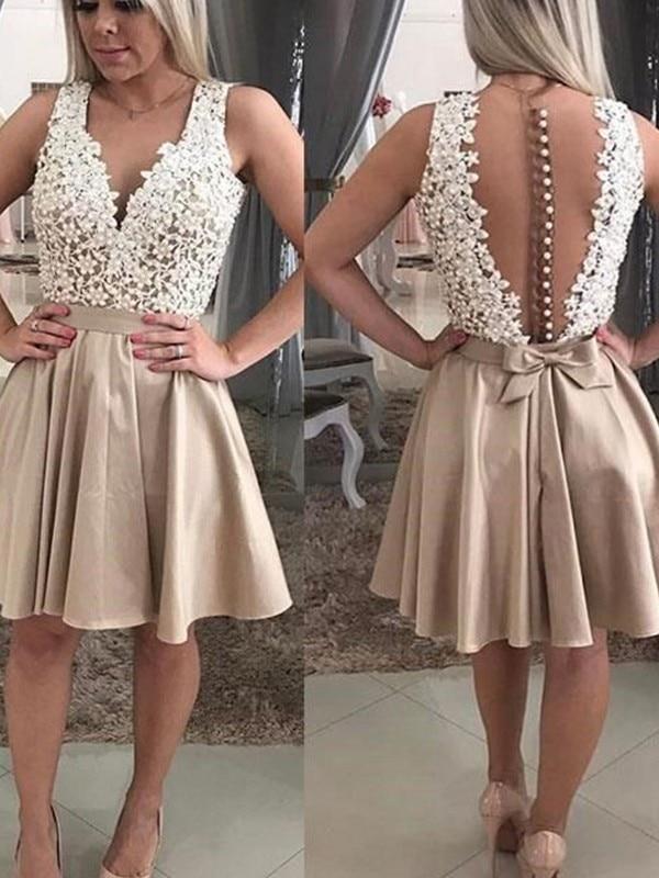 2020 Homecoming Dress A-Line/Princess Sleeveless Beading V-neck Satin Short/Mini Dresses For Party