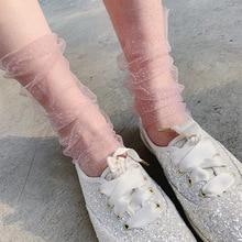 Womens Mesh Socks Fashion Crystal Silk Lace Transparent Fishnet Women Shiny Short Clearance Summer Sock Woman