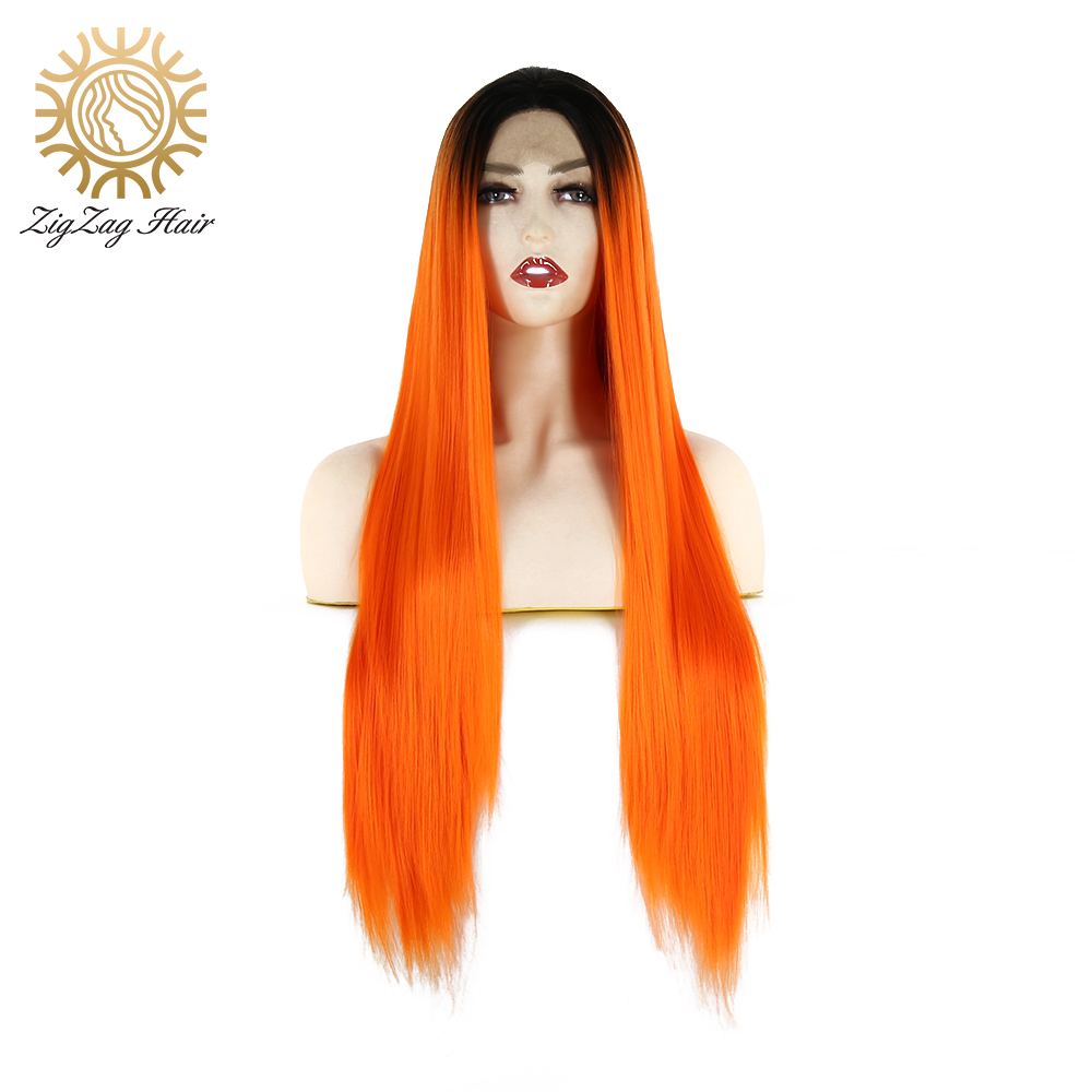 ZigZag Black Ombre Orange Color Synthetic Lace Front Wig For Black Women 2 Tone Glueless Long Straight Heat Resistant Fiber Hair