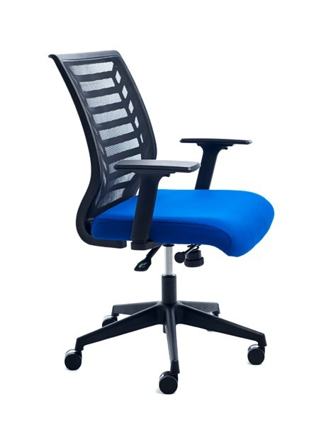 OFFICE CHAIR BACKING BLACK MESH/SEAT TRIM BLUE