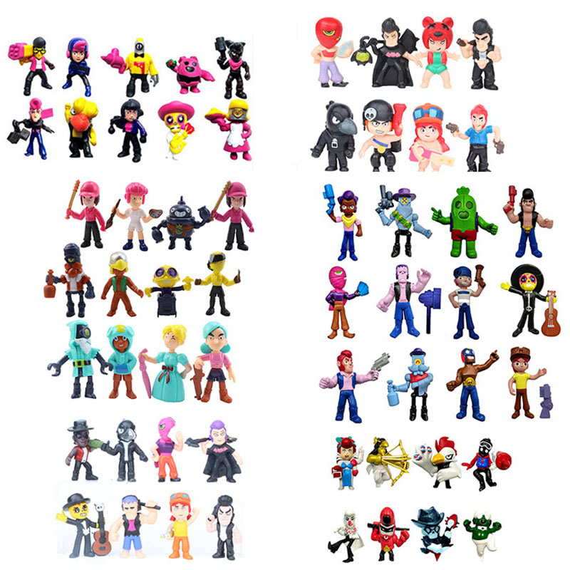 38pcs/set Brawl Action Figure Toys Amine Game Poco Shelly Nita Colt Jessie Brock Collectiable Block Model Toy For kids Gifts