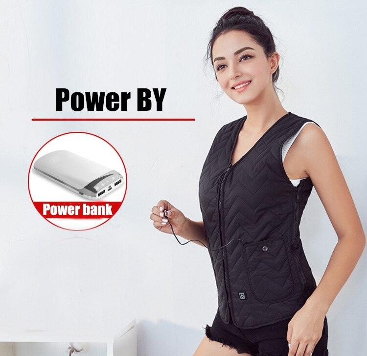 Heating Vest Jacket Winter Flexible Electric Thermal Clothing Waistcoat Fishing Hiking Sportswear Men Women Outdoor USB