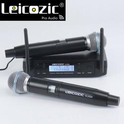 Leicozic 600Mhz 2x100CH Professional Karaoke Microfone Wireless system GLDX4D Handheld Cordless Microphone System Microfono uhf