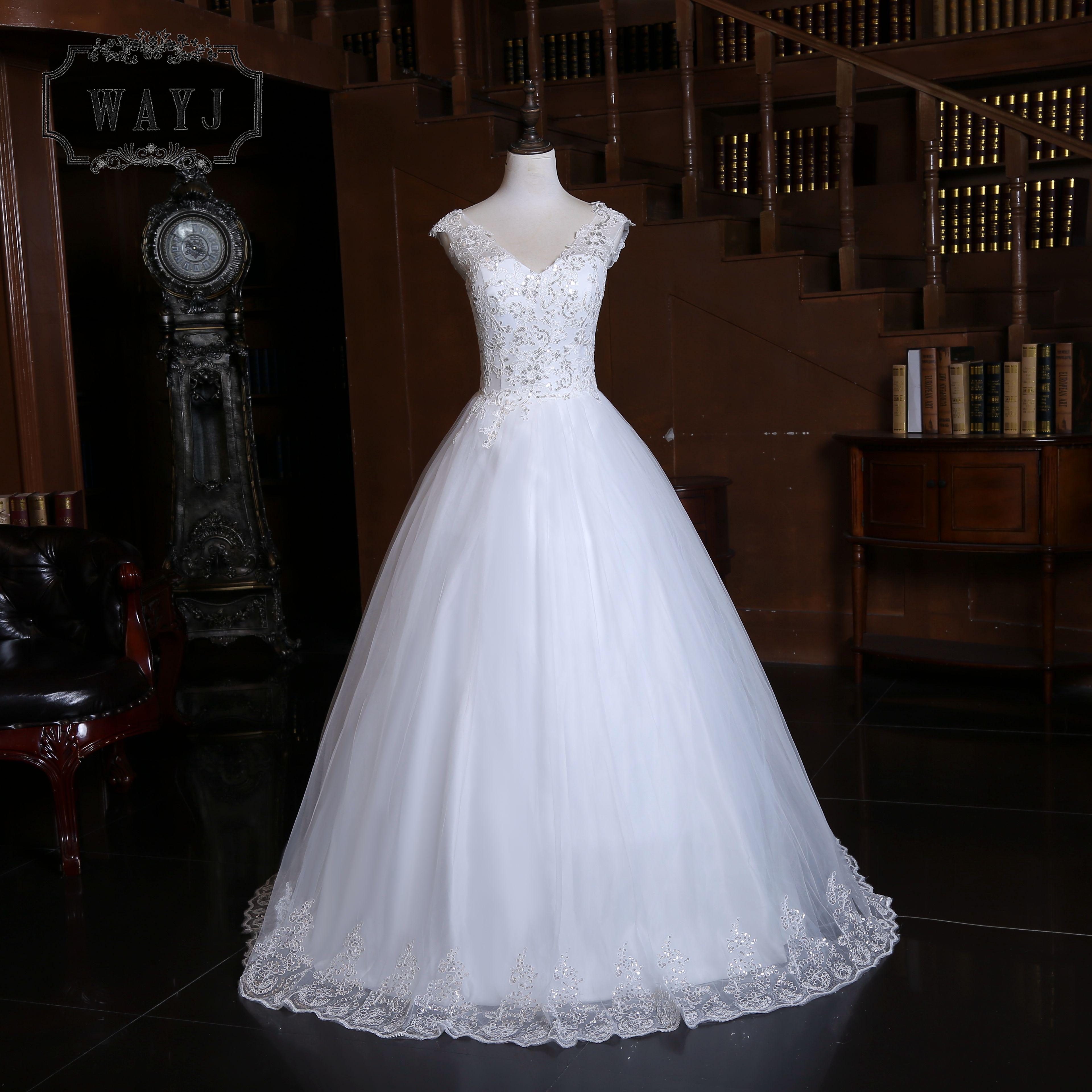New Arrive V-neck Sequins Ball Gown Wedding Dress 2020 Nice Princess Wedding Gowns Shiny Appliques Custom Vestido De Noiva 2020