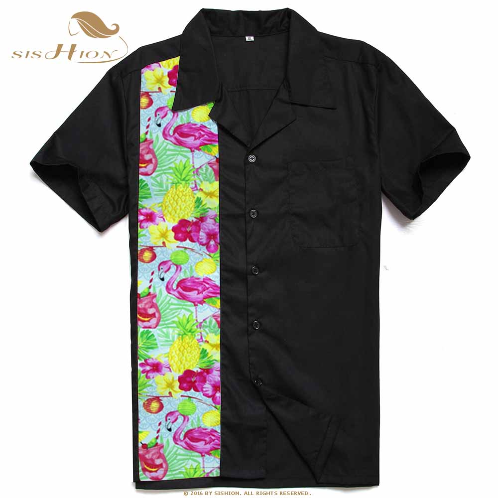 Image 5 - SISHION L 2XL Plus Size Men Shirt ST110 Short Sleeve Black Red Rockabilly Cotton Casual Bowling Shirts for Men camisa masculina-in Casual Shirts from Men's Clothing
