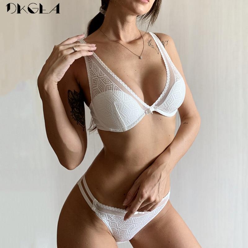 2019 Thin Cotton Bra Panties Sets White Women Lingerie Set Embroidery Hollow Brassiere A B C Cup Sexy Bras Lace Underwear Set