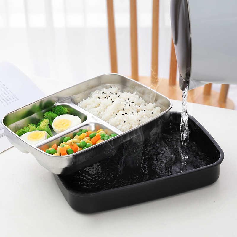 Fiambrera t/érmica de acero inoxidable Caja Bento de 2 niveles Caja apilable Fiambrera Contenedor de comida con asa arqueada para comida caliente Azul