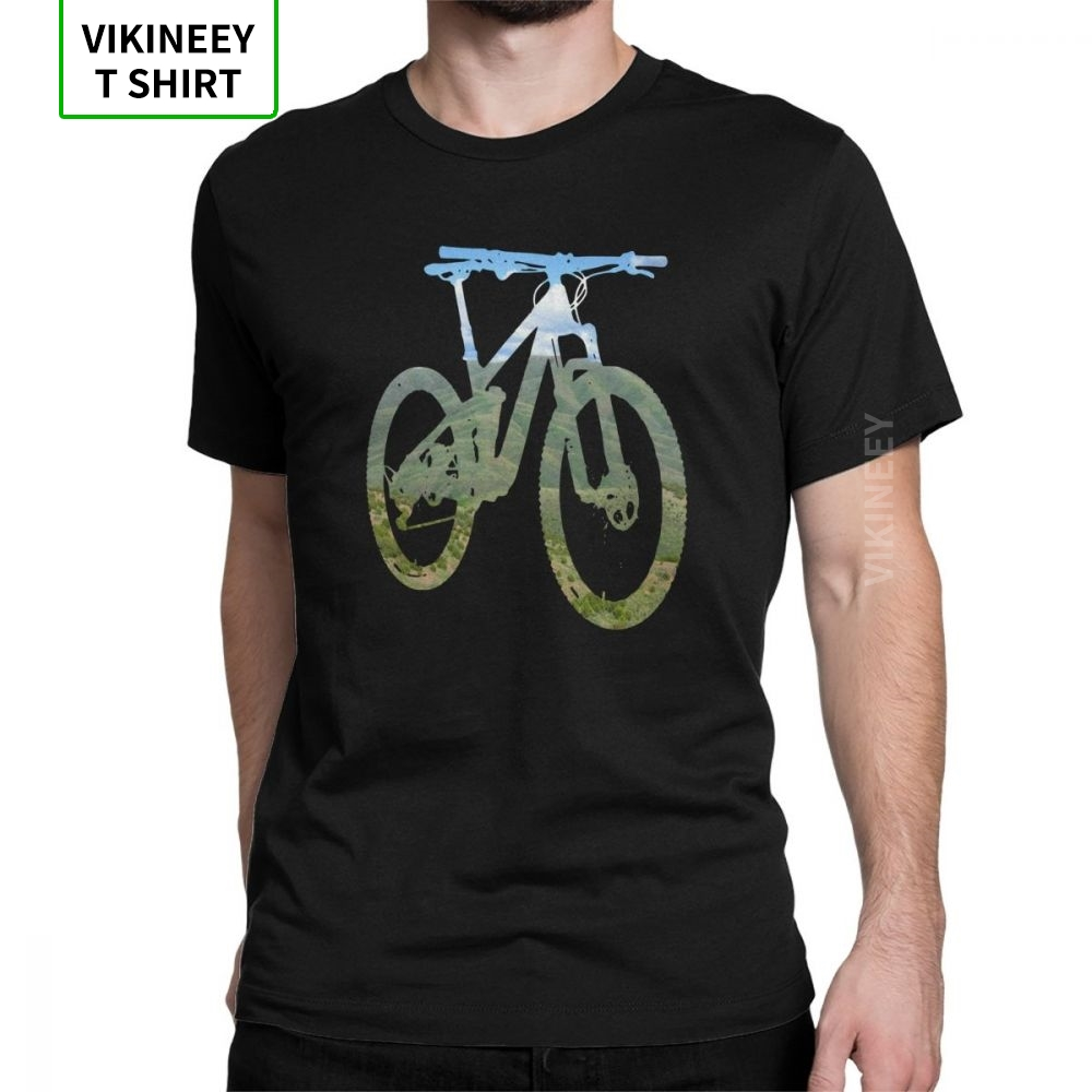 Man T Shirt Mountain Bike T-Shirts Mountain And Sky MTB Collection Stylish Short Sleeves Tees Clothing 100% Cotton Print