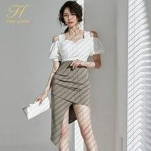 H Han Queen 2021 Summer Patchwork Irregular Elegant Pencil Dress Women Simple Slim Sheath Bodycon Dresses Office Wear Vestidos