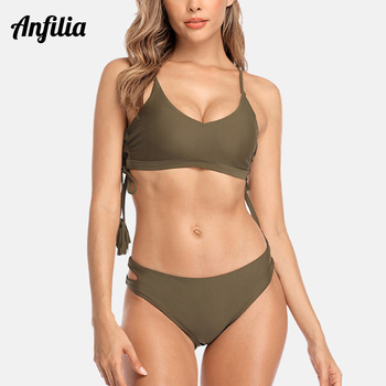 Anfilia Women Bikini Set Tassel Swimsuit Cutout Low Waist Swimwear Solid Sexy Push Up Beachwear Bathing Suit