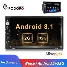 Podofo 2din Автомагнитола Android Mirrorlink Bluetooth gps Wifi FM Автомобильный мультимедийный MP5 плеер для Volkswagen Nissan hyundai Авторадио