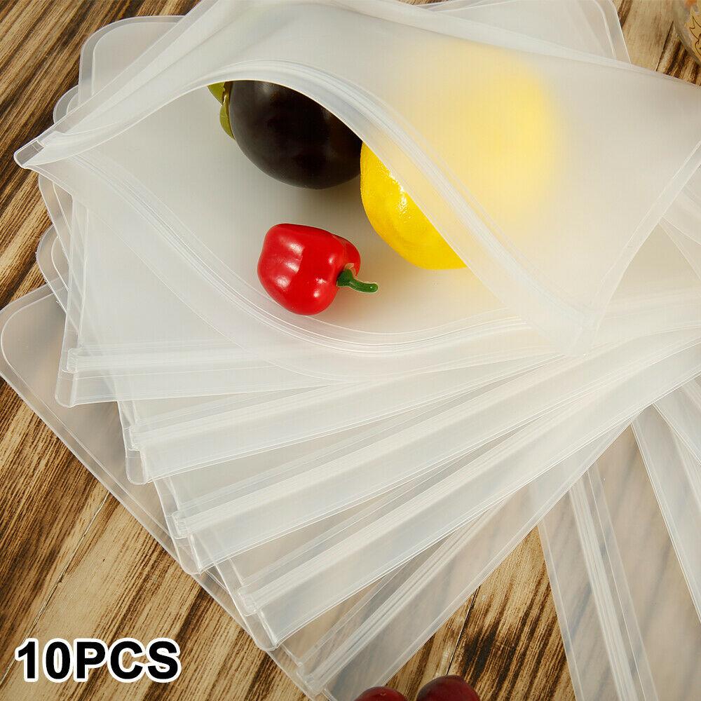 10 шт. утолщенный мешок для еды PEVA многоразовые сумки для морозильной камеры Сумки для хранения еды Ziplock герметичные свежие пакеты для закусо...